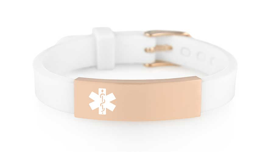 White and rose gold silicone waterproof medical alert bracelet