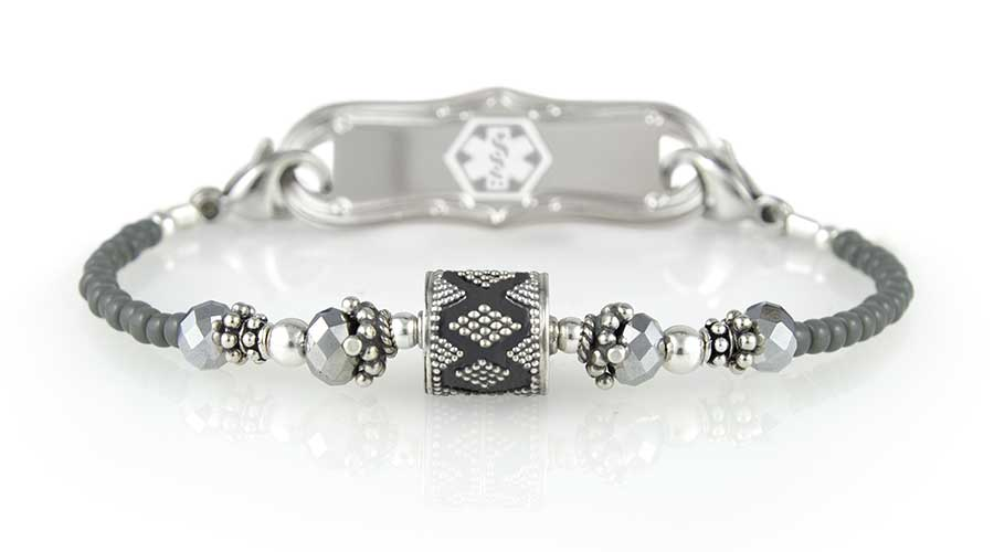 Stretch medical alert bracelet with gray beads and silver accents