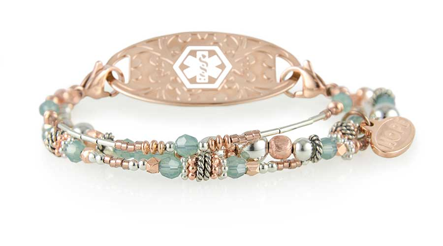 Rose gold beaded medical alert bracelet with blue accent beads