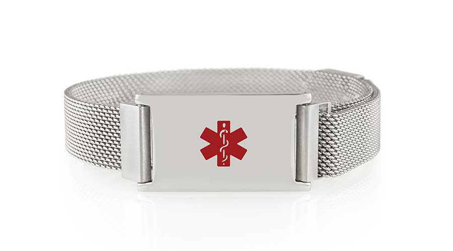 Stainless steel medical ID bracelet with mesh band