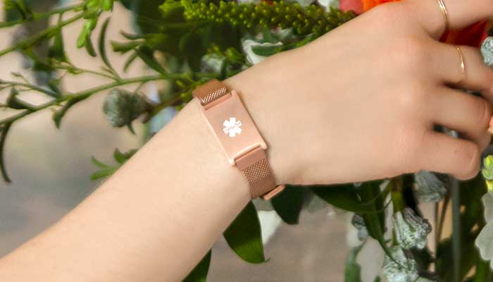 Rose gold medical alert bracelet with matching mesh band