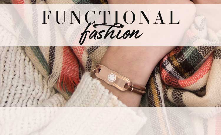 Woman wearing multicolored scarf and rose gold medical ID bracelet -- FUNCTIONAL fashion