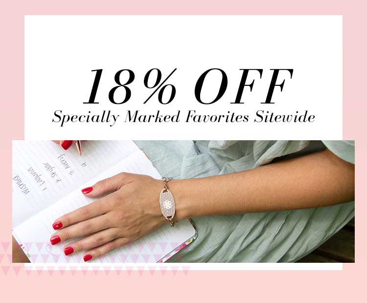 18% OFF Specially Marked Favorites Sitewide text on pink background with rose gold medical ID tag on a woman
