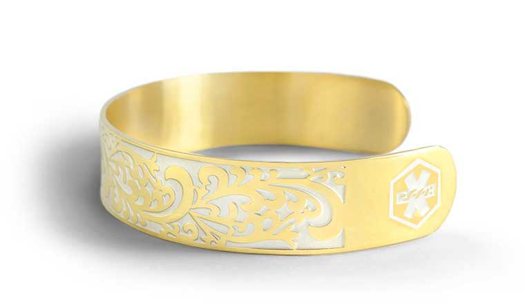 Golden Filigree Medical ID Cuff - yellow gold cuff bracelet with filigree pattern and pearl inlay
