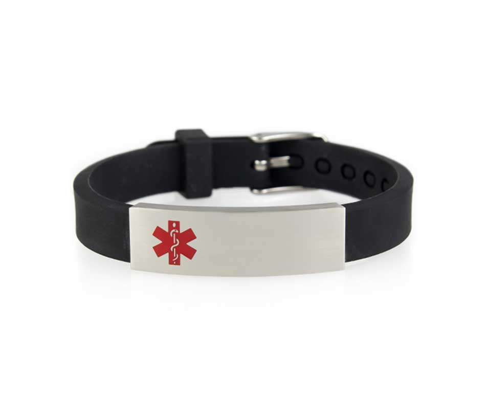 ActiveWear Fit in Black and Silver - black silicone band with adjustable closer and silver ID tag