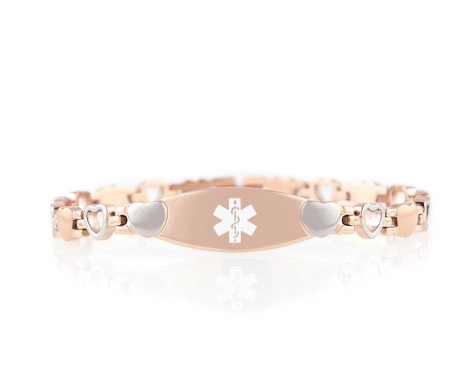 Rose Gold Tone Love Links Medical ID Bracelet - rose gold linked bracelet with heart shaped links