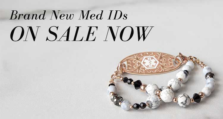 Brand New Med IDs ON SALE NOW text with rose gold medical ID with marbelized beads