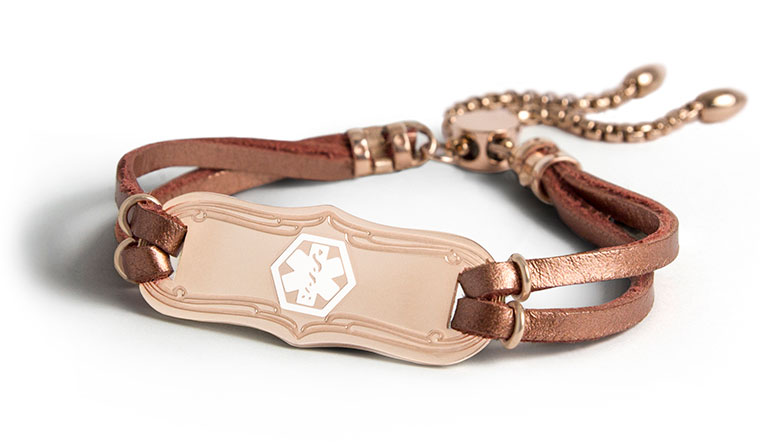 Avery Medical ID Bracelet - rose gold medical ID tag with copper leather and smartFit closure