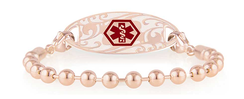 Rose gold ball chain medical ID bracelet with decorative rose gold medical ID tag