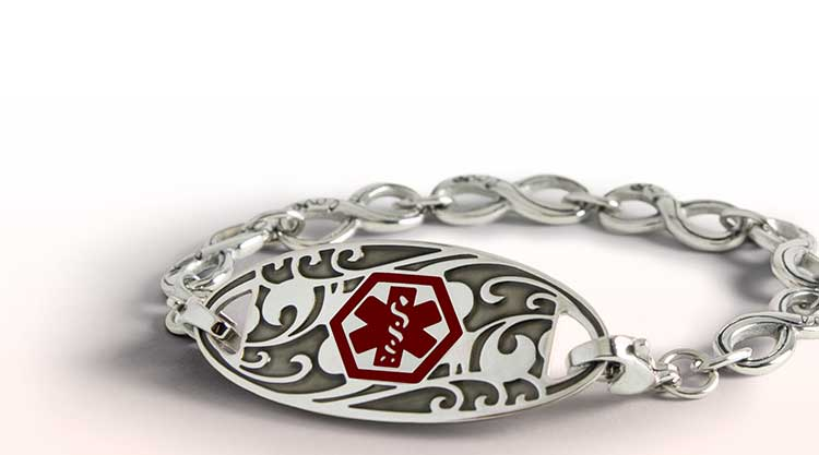 Stainless steel medical ID bracelet with decorative medical ID tag