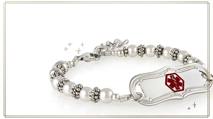 Stretch medical ID bracelet with silver beads and decorative medical ID tag