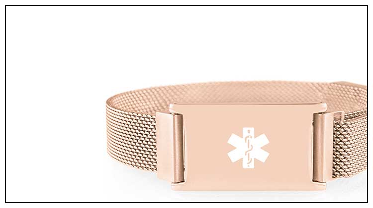 Rose gold linked medical ID bracelet with mesh band