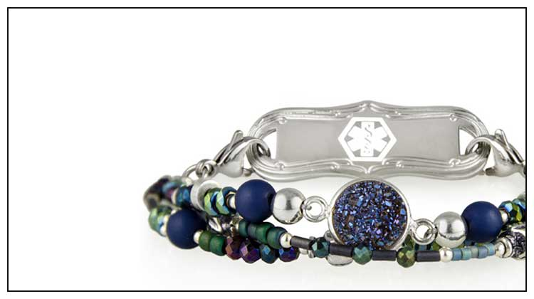 Silver and cobalt blue beaded medical ID bracelet with decorative medical ID tag