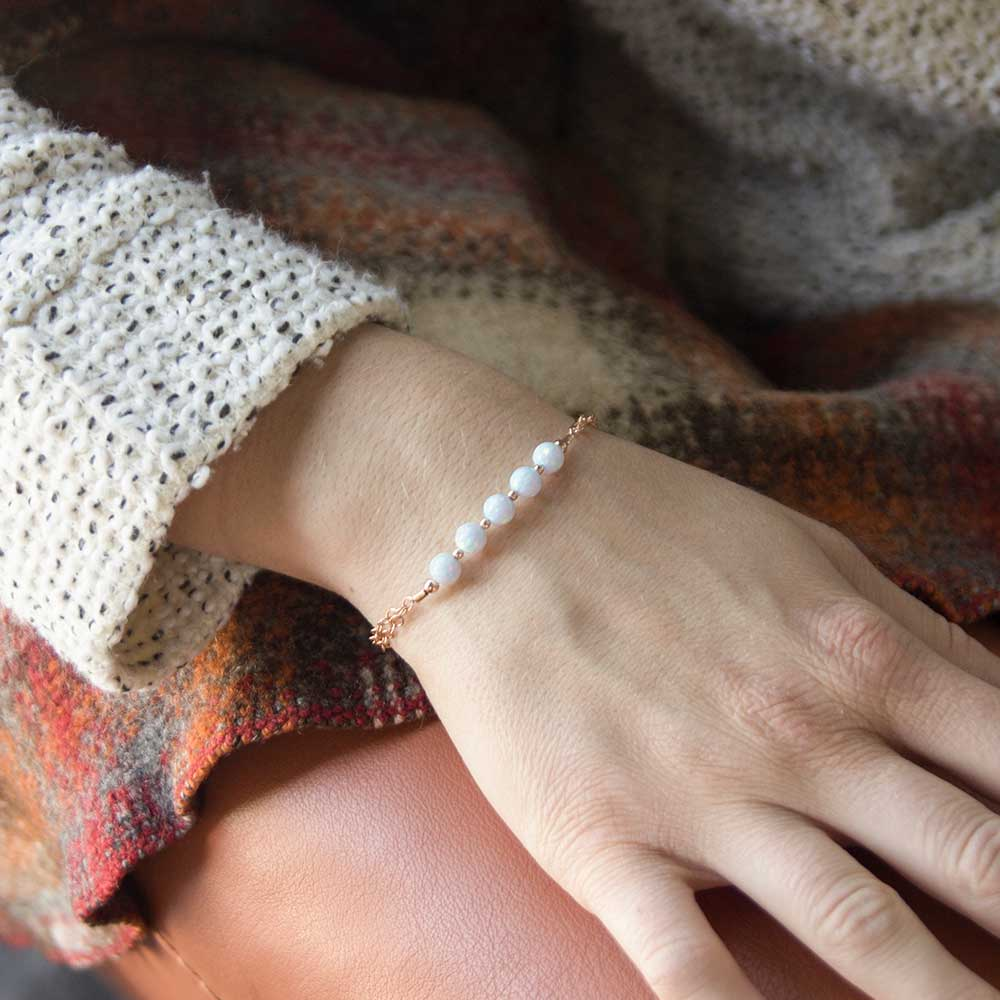 Rose gold beaded medical ID bracelet with five opal beads