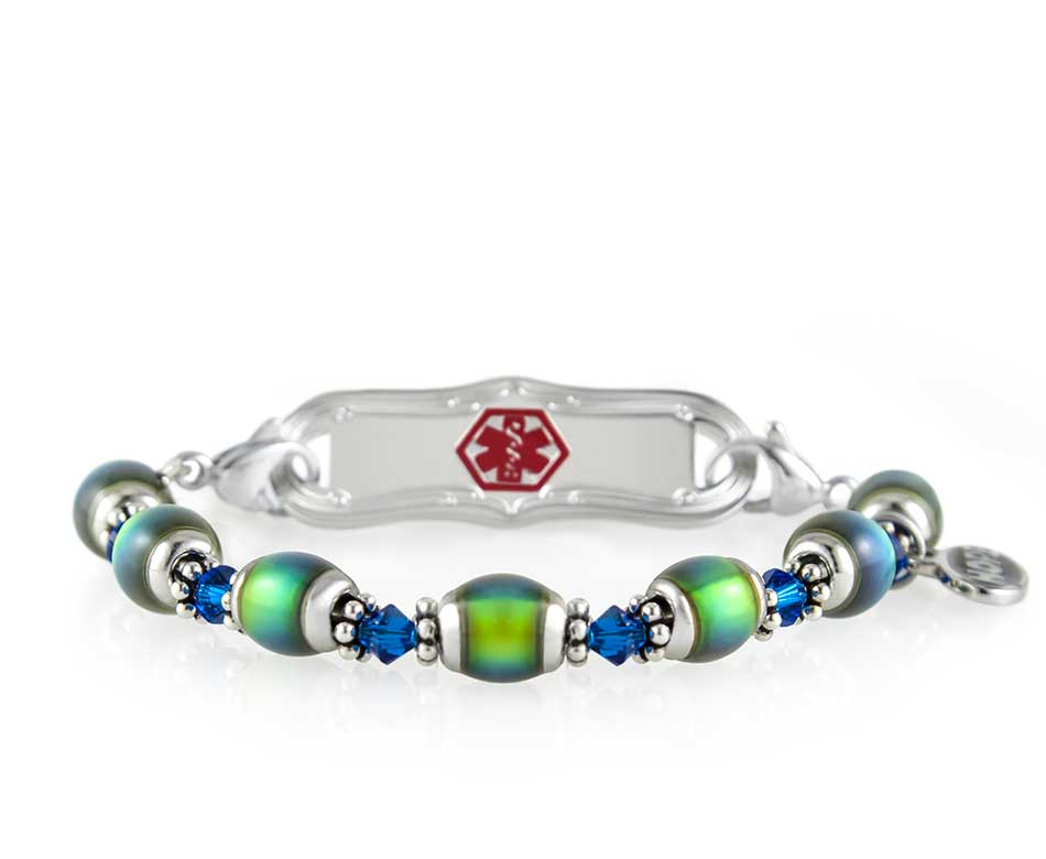 Beaded color changing mood bracelet medical alert for girls