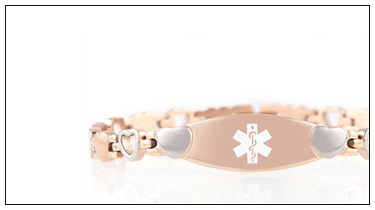 Rose gold linked medical ID bracelet with heart links