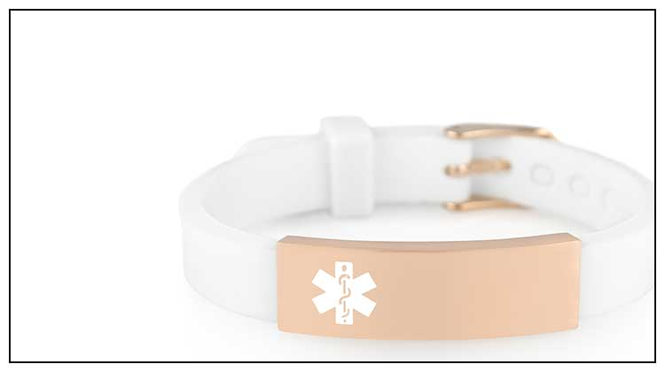 White silicone medical ID band with rose gold medical ID tag