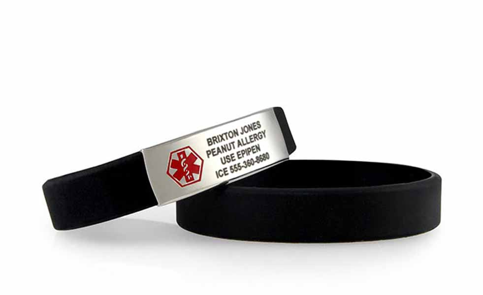 Black silicone medical ID bands with red caduceus and dark laser engraving