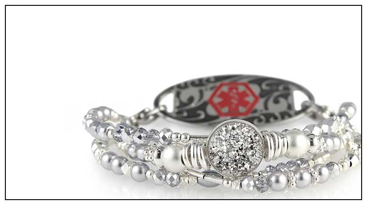 Silver beaded medical ID bracelet with silver druzy crystal and decorative medical ID tag