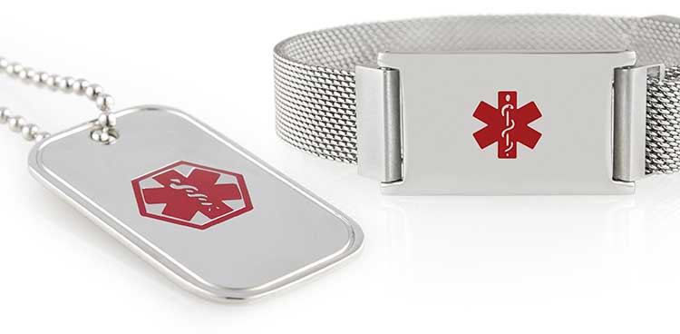 Medical symbol and silver tone medical alert jewelry with red symbols