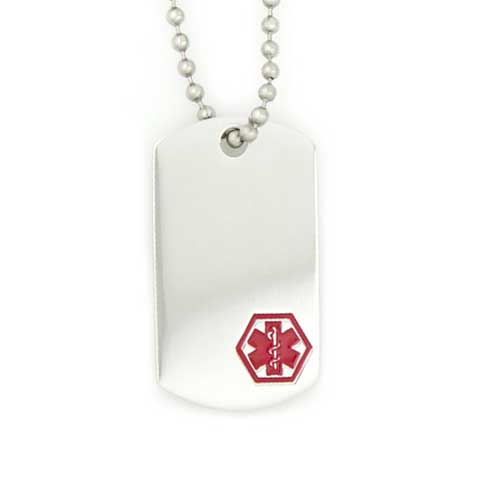 Silver medical alert dog tag necklace with red symbol