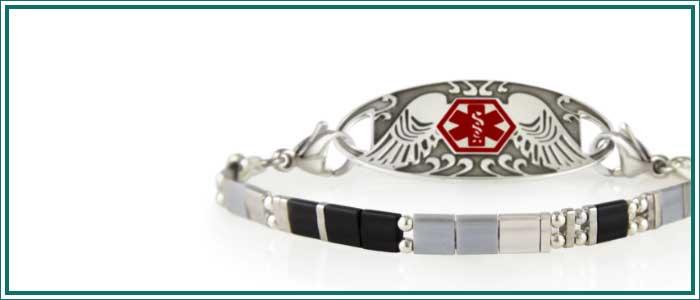 Gray and black beaded stretch medical alert bracelet
