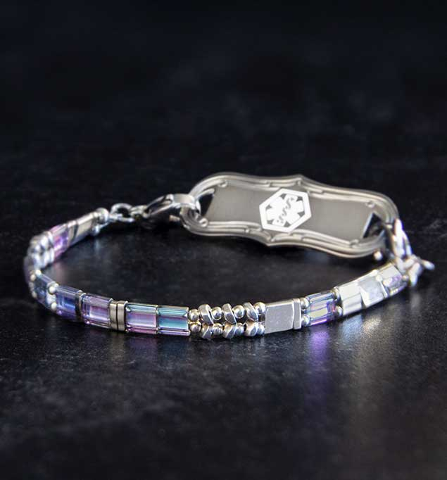 Purple and silver medical alert bracelet with flat beads and silver medical alert tag