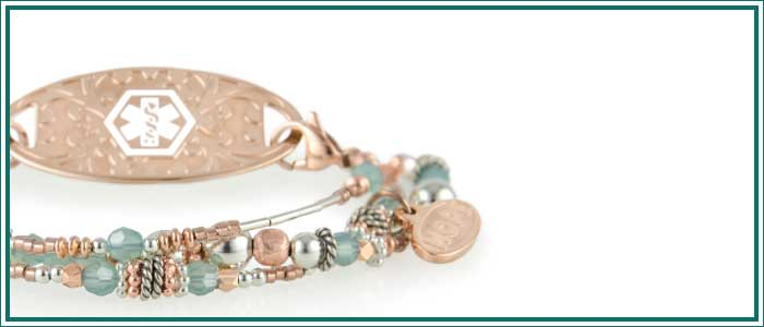 Rose gold beaded medical alert bracelet with blue and silver beads