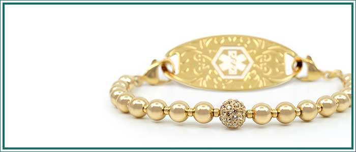 Gold beaded stretch medical alert bracelet