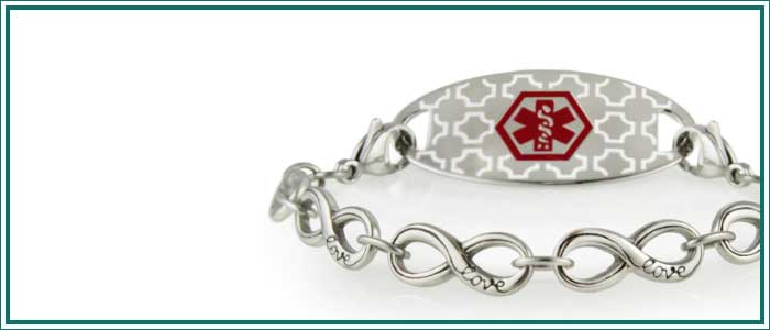 Silver tone medical alert chain bracelet with infinity links