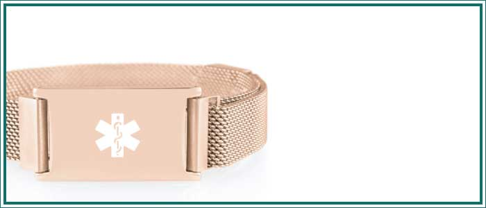Rose gold medical alert bracelet with mesh band and magnetic clasp