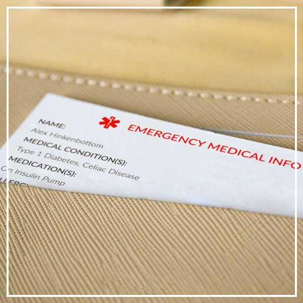 Wallet containing medical alert wallet card