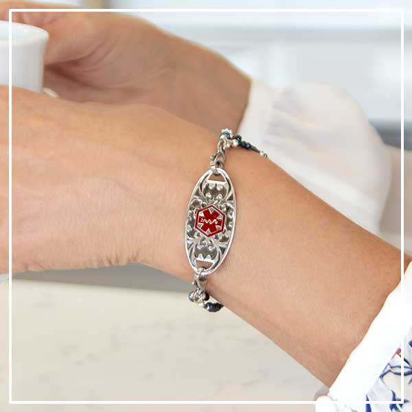 Interchangeable medical alert bracelet with decorative ID tag