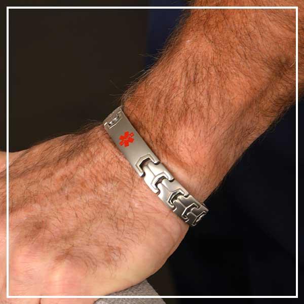 Silver tone linked medical alert bracelet