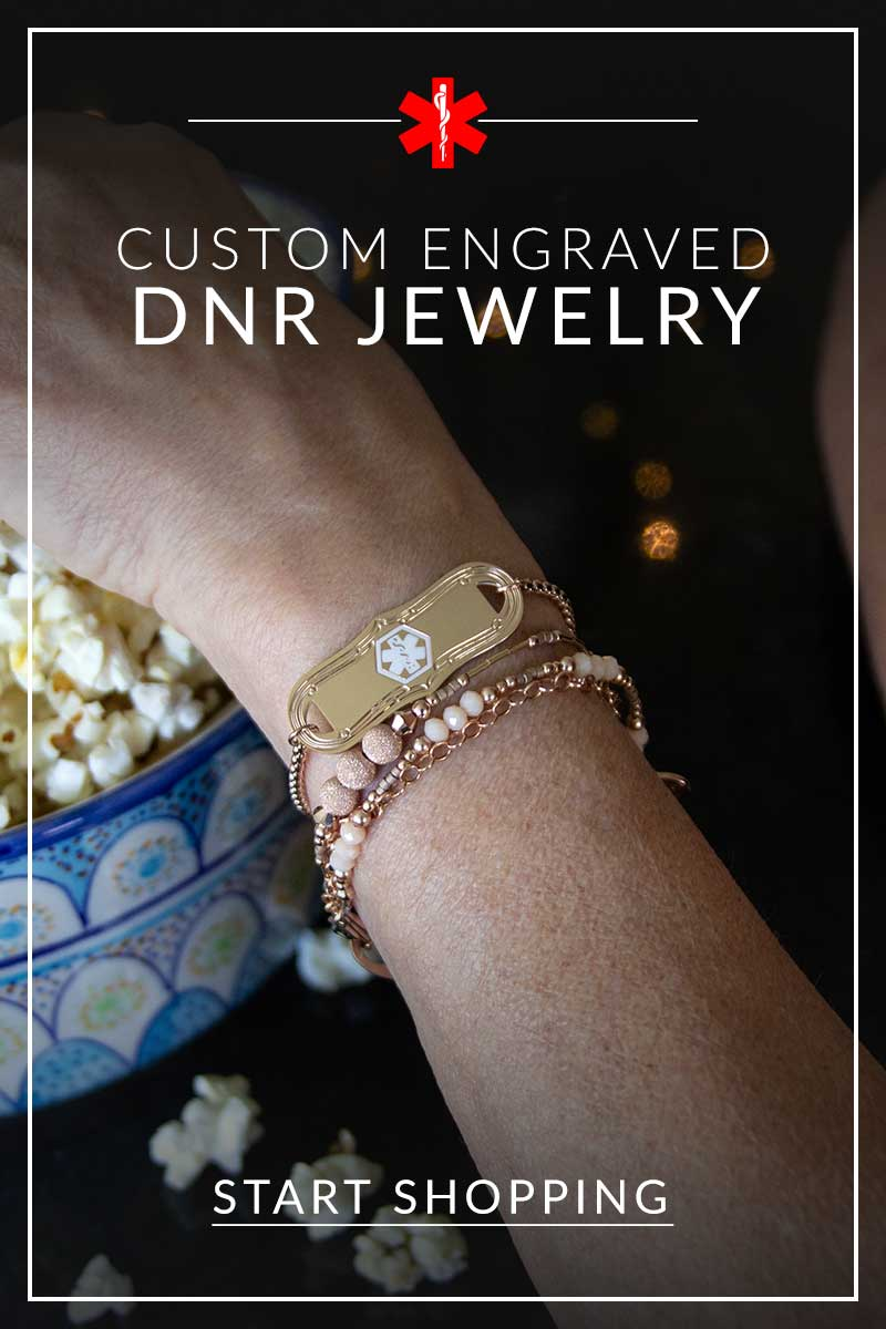 Woman wearing rose gold DNR jewelry