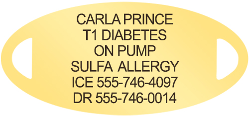 Gold oval medical ID tag with custom Diabetes engraving