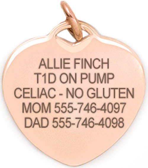 Rose gold heart medical ID tag with custom engraving