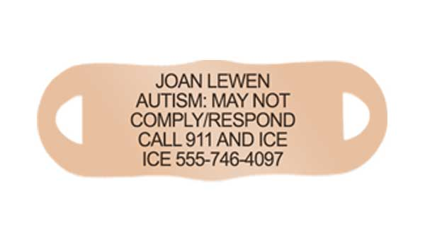 Rose gold Autism Alert ID Tag with engraving