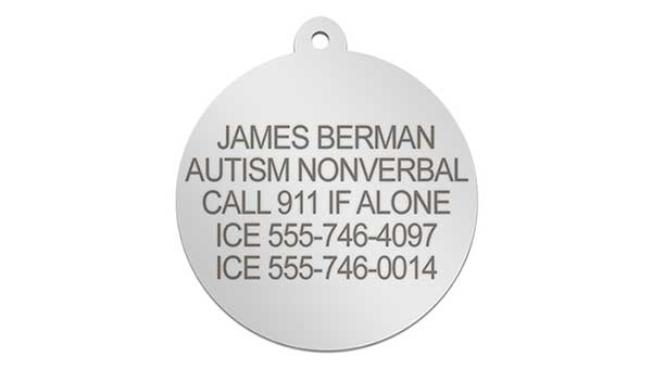 Silver medical alert pendant for Autism