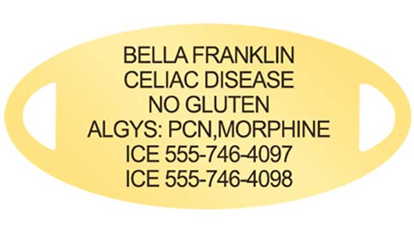 Gold medical alert tag with Penicillin Allergy engraving