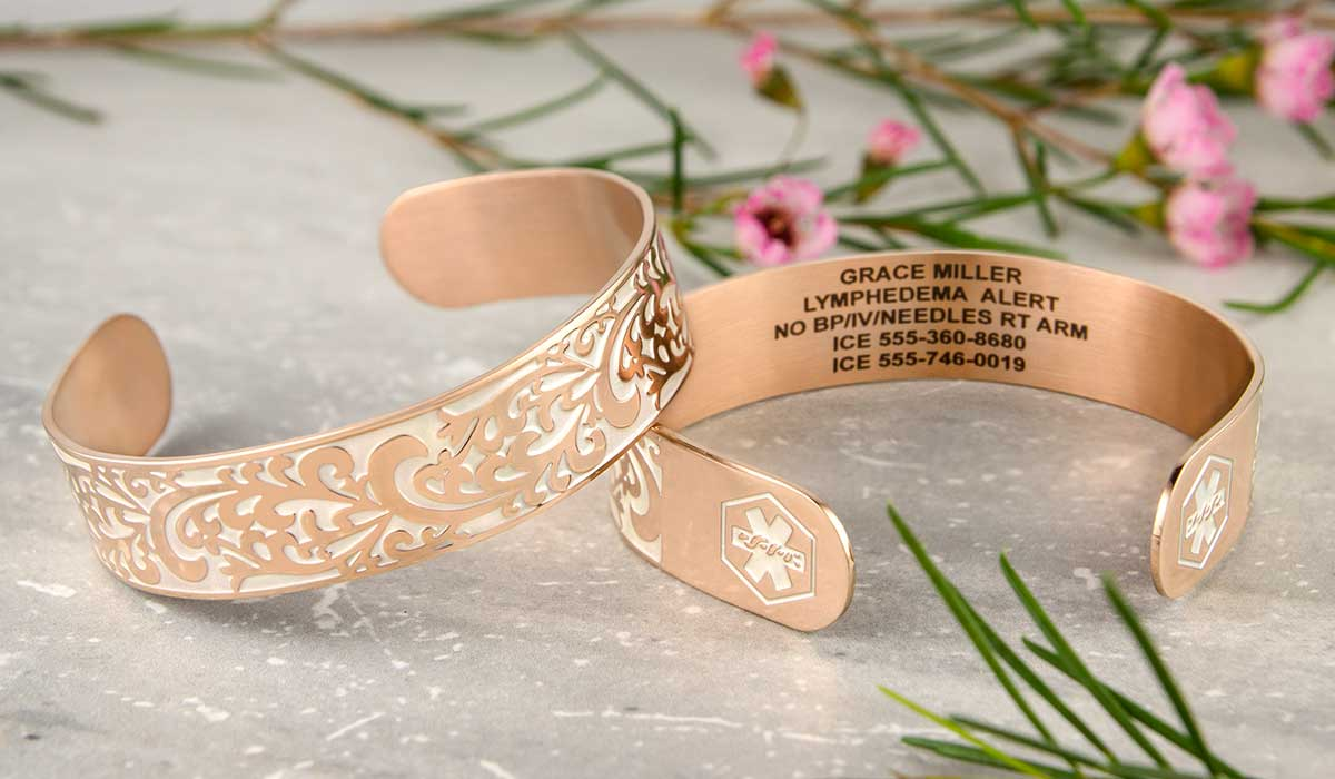 Rose gold medical alert cuff with Lymphedema engraving