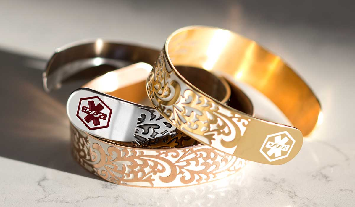 Decorative medical alert cuffs for cancer and lymphedema