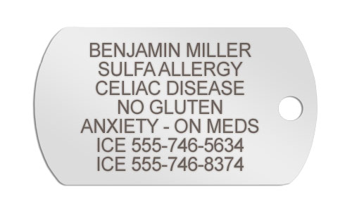 Silver medical ID necklace for Celiac Disease