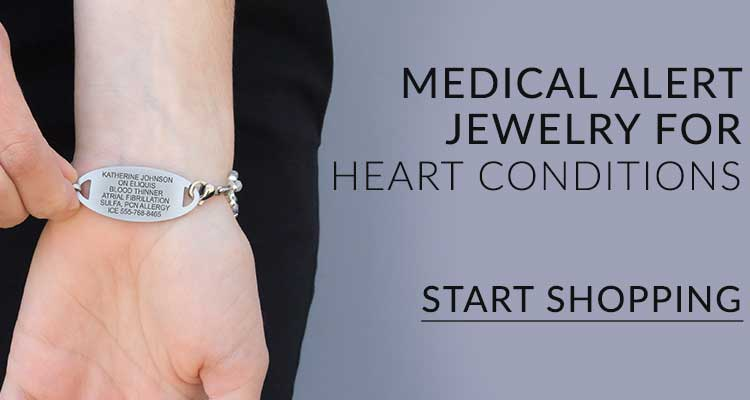 Women showing custom engraved heart condition medical alert bracelet