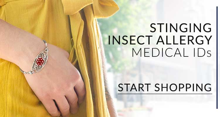 Woman wearing medical alert tag for stinging insect allergy