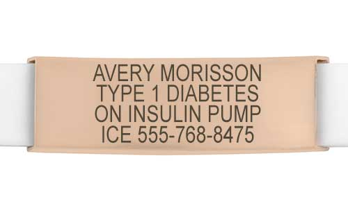 Rose gold with white silicone med ID band with type 1 diabetes custom engraving