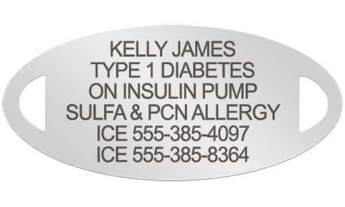 Silver tone medical ID tag with custom diabetes laser engraving