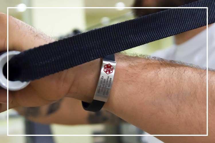 Man exercising while wearing silicone medical alert bracelet
