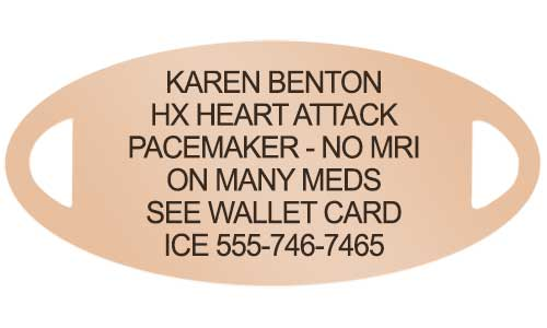 Medical alert tag with engraving for pacemaker
