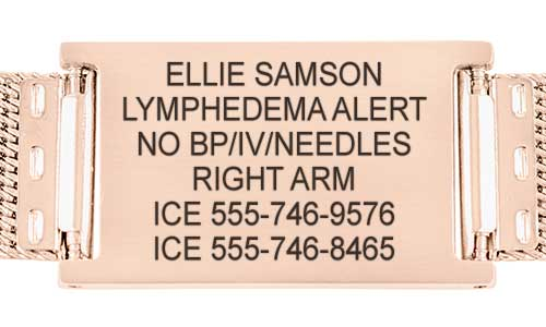 Lymphedema medical alert tag with custom engraving